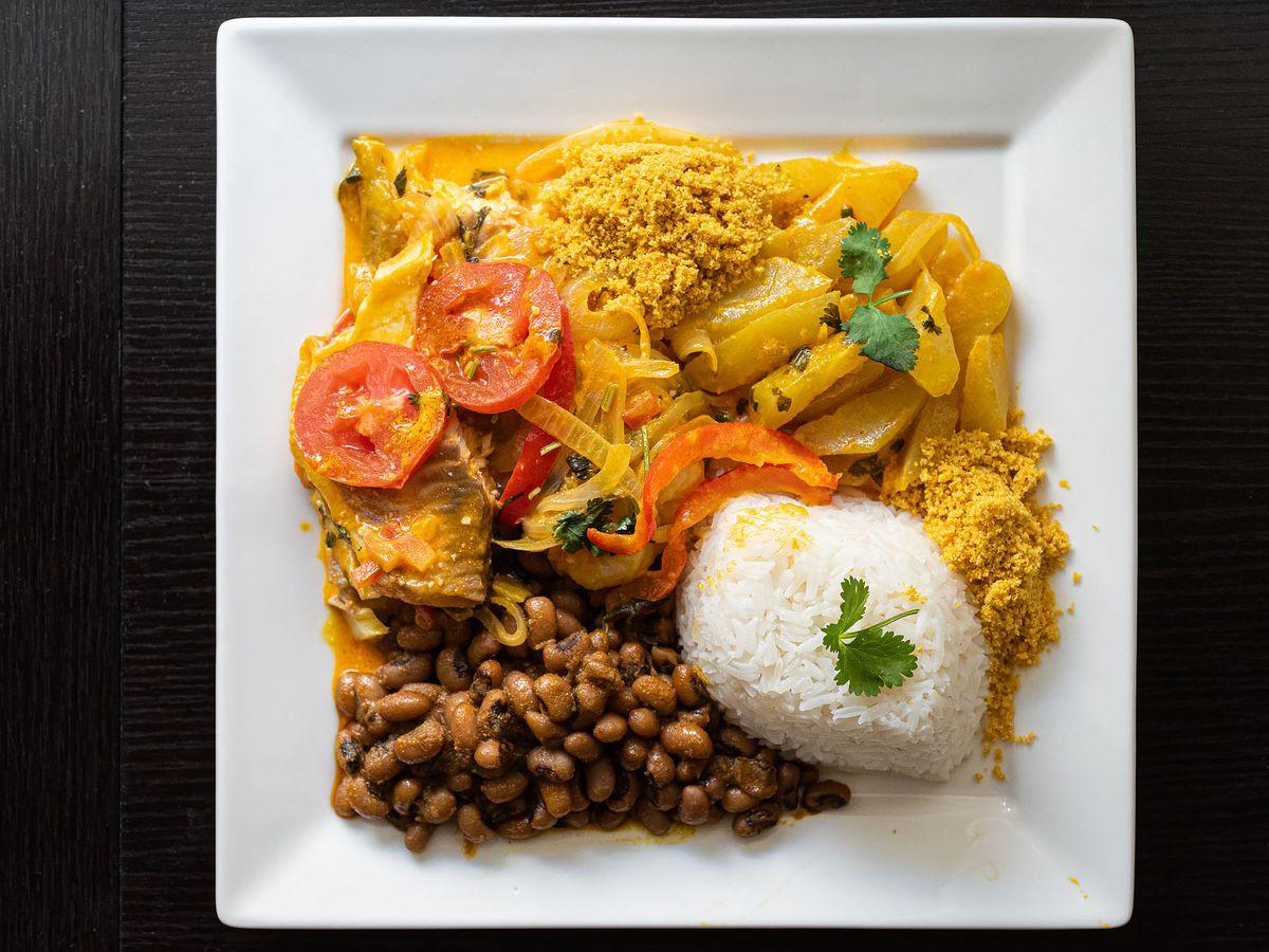 Bahian fish stew with rice and beans at Sabor da Bahia.