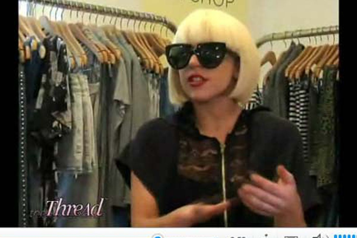 """Screengrab via <a href=""""http://shine.yahoo.com/event/the-thread/lady-gaga-an-exclusive-interview-and-shopping-spree-462644"""">The Thread</a>"""