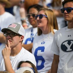 Brigham Young Cougars fans watch as they trail the Wisconsin Badgers during the game at LaVell Edwards Stadium in Provo on Saturday, Sept. 16, 2017.