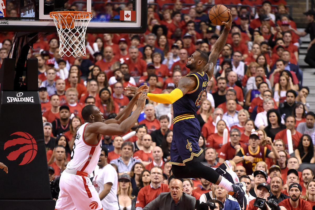 58739f2b3 Cavaliers vs. Raptors 2016 results  LeBron James advances to 6th straight  NBA Finals with Game 6 win