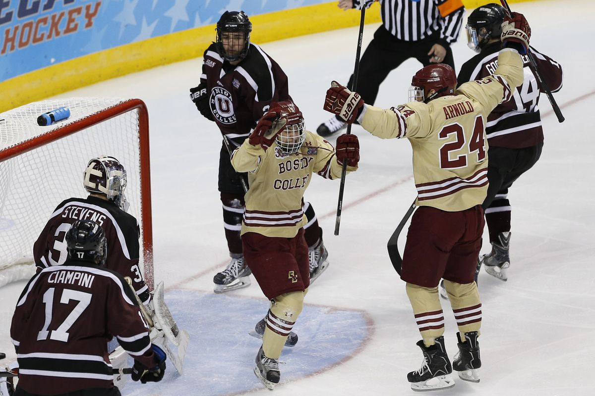 Johnny Gaudreau and Bill Arnold celebrate a goal celebrate a goal during their last game playing for BC.