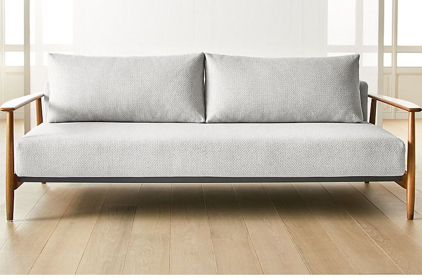 Gray sofa with wooden arms.