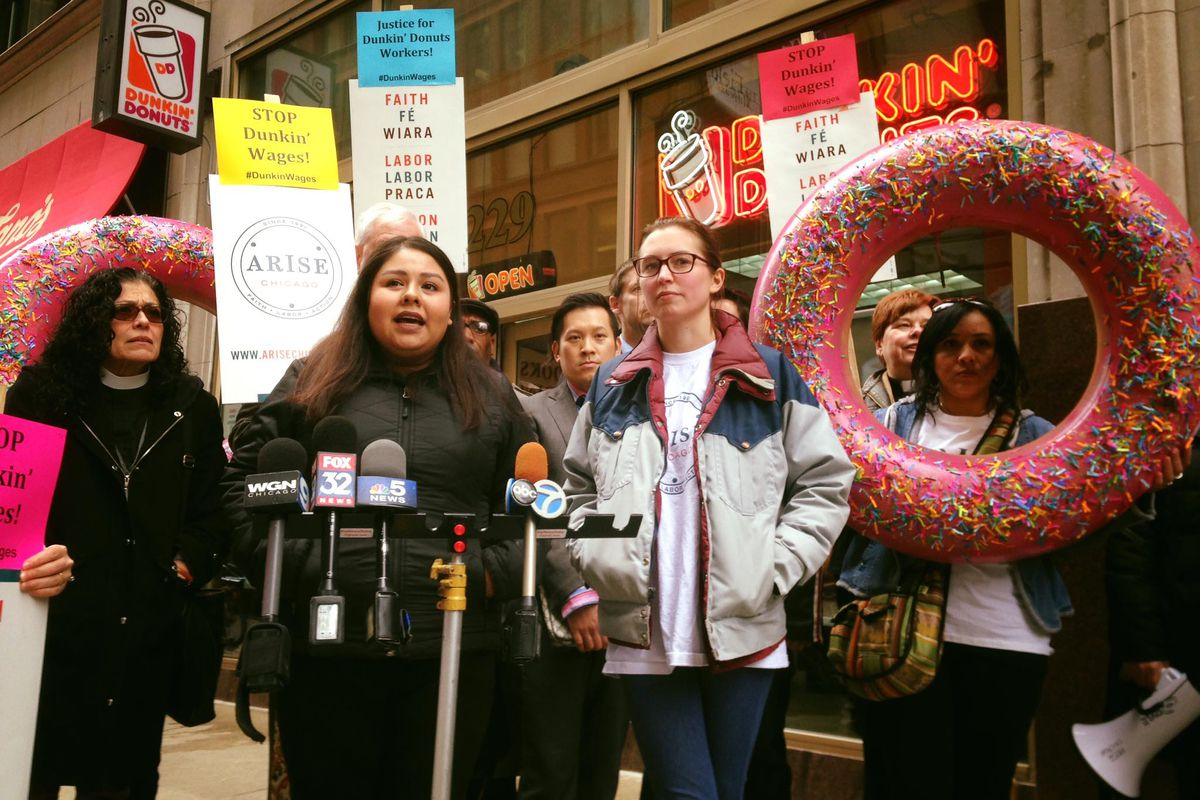 A Wednesday press conference announced a federal lawsuit in Chicago against a Dunkin' Donuts franchisee.