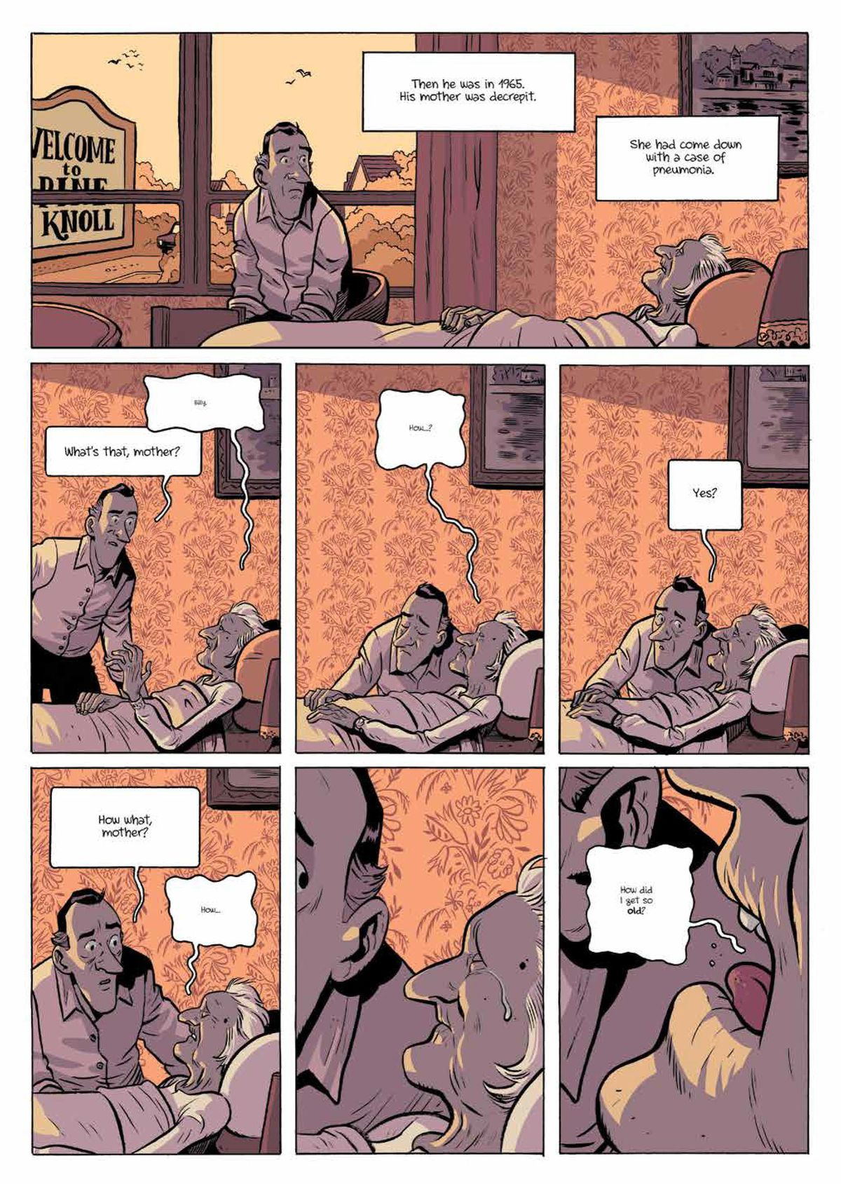 """Billy Pilgrim sits with his ailing mother as she asks him """"How did I get so old,"""" in Slaughterhouse-Five, Boom Studios (2020)."""