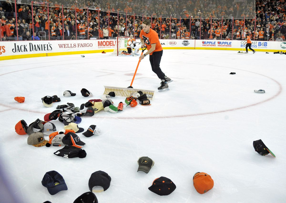 Somebody threw a shoe on the ice after Brayden Schenn s hat trick ... dcc736676a3