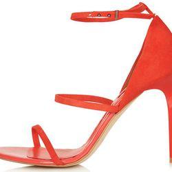"<b>Topshop</b> Ripple Sandals in Red, <a href=""http://us.topshop.com/en/tsus/product/shoes-70484/heels-70512/heeled-sandals-71218/ripple-skinny-strap-sandals-2940496?refinements=category~%5b973293%7c208692%5d&bi=1&ps=200"">$95</a>"