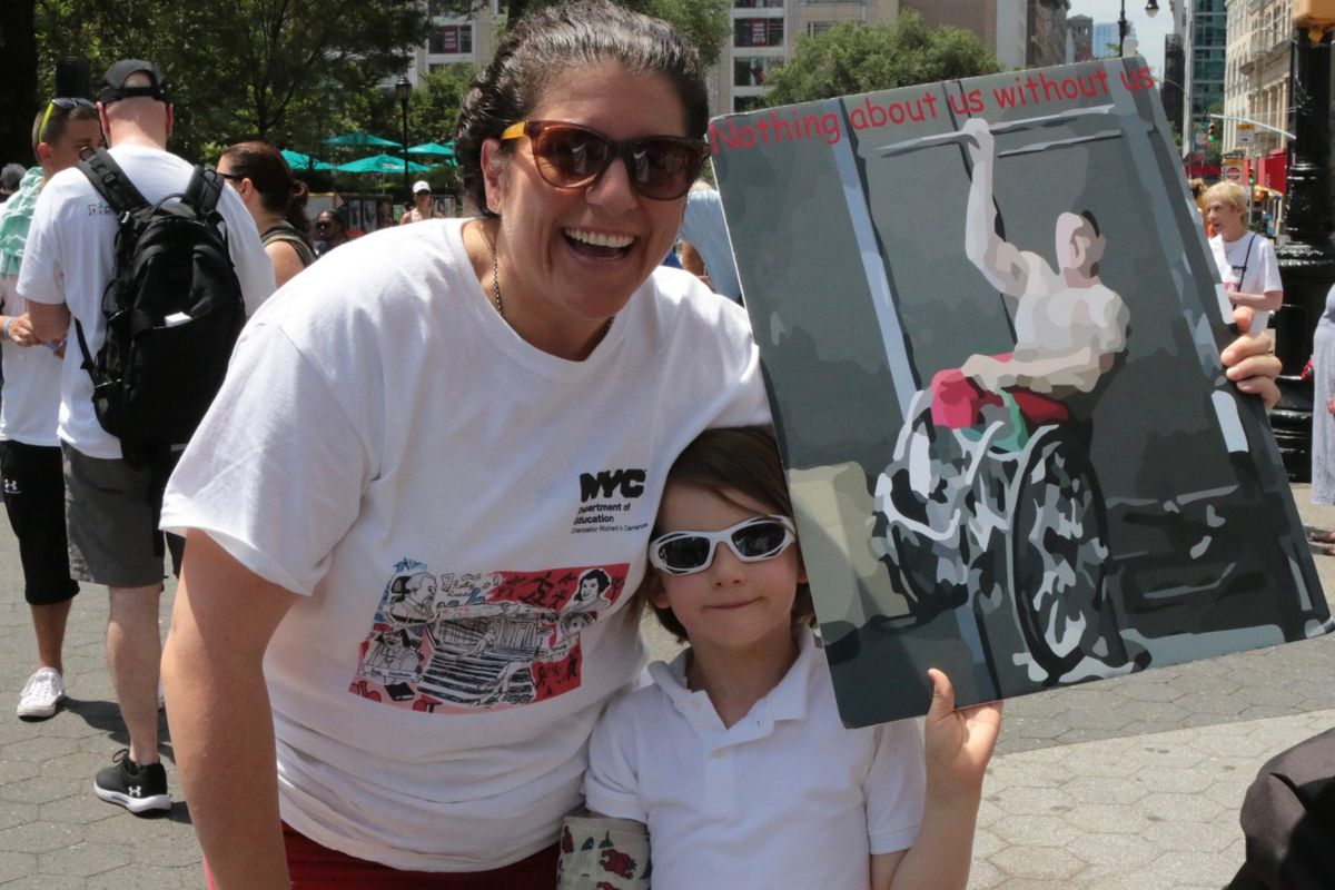 Christina Foti marched in the city's disability pride parade in July 2019.