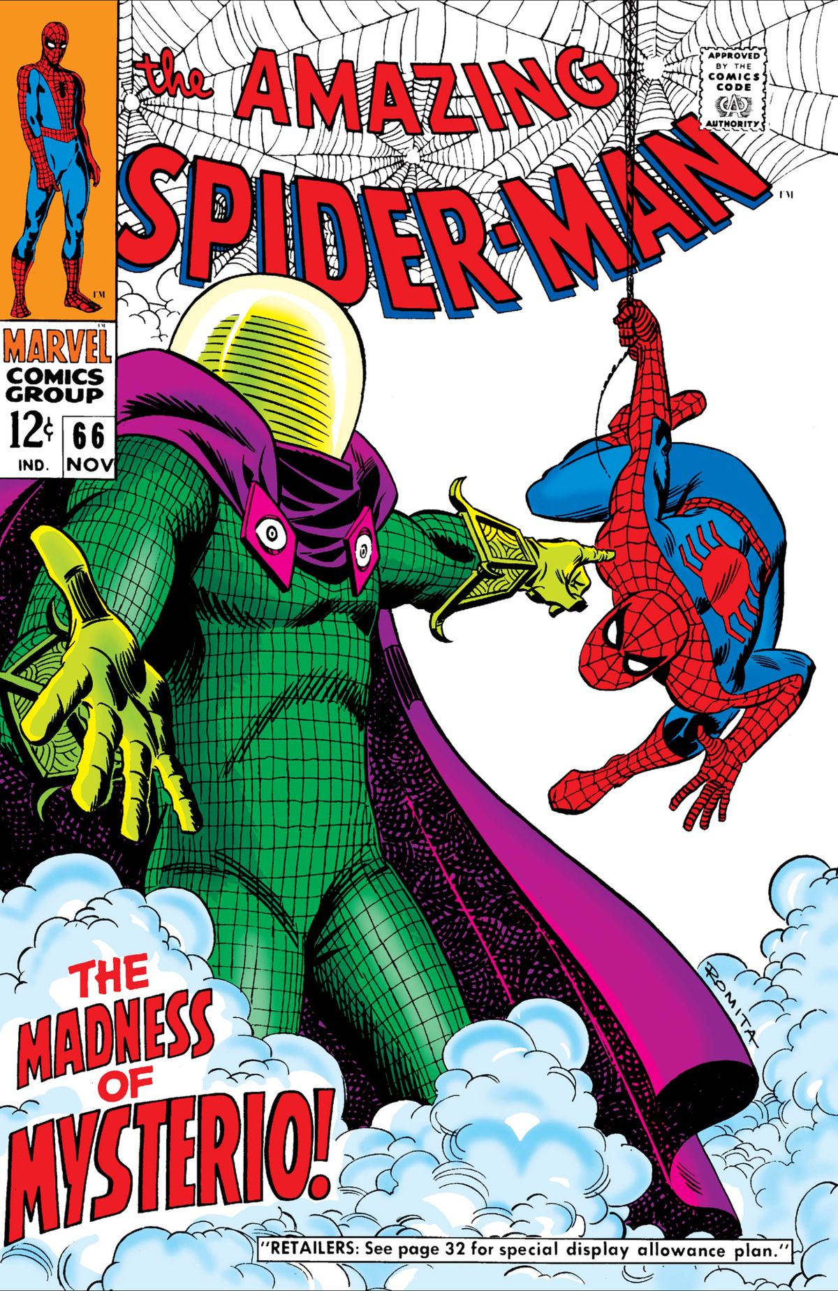 Mysterio and Spider-Man on the cover of Amazing Spider-Man #66, Marvel Comics (1968).