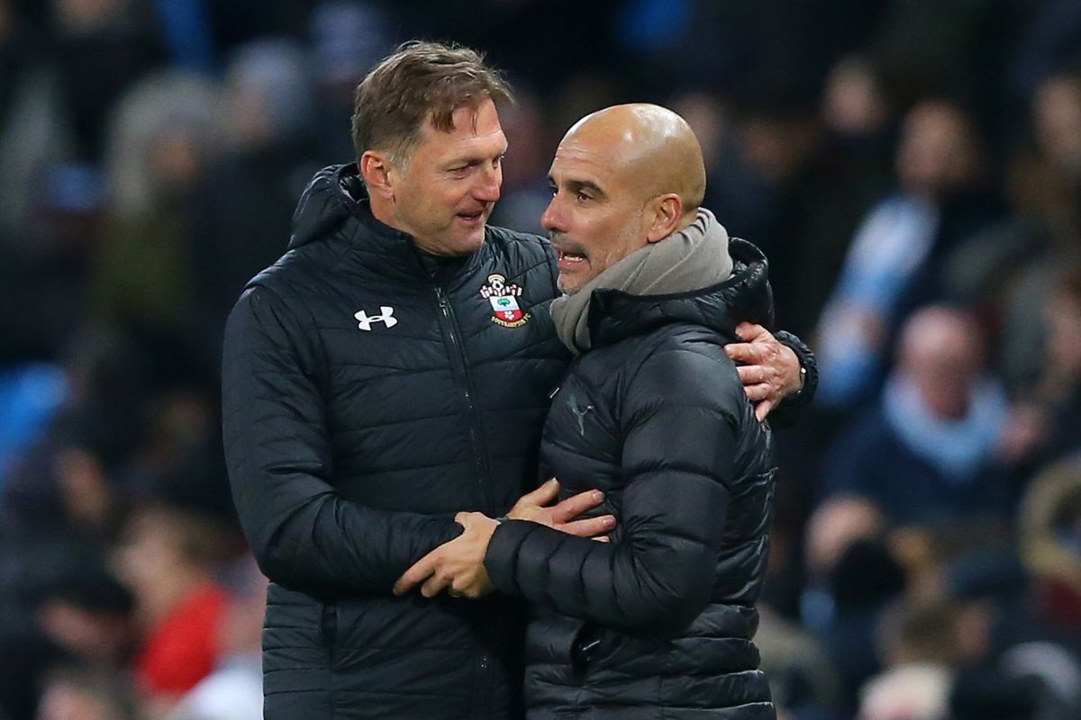 Manchester City v Southampton FC in the Premier League Ralph Hasenhuttl speaking to Pep Guardiola