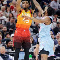 Utah Jazz guard Donovan Mitchell (45) puts up a shot as the Utah Jazz and the Miami Heat play in an NBA basketball game at Vivint Smart Home Arena in Salt Lake City on Wednesday, Feb. 12, 2020.