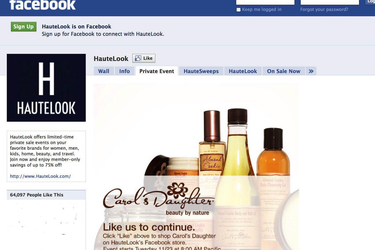 "Hautelook on Facebook via <a href=""http://www.facebook.com/hautelook"">Facebook</a>"