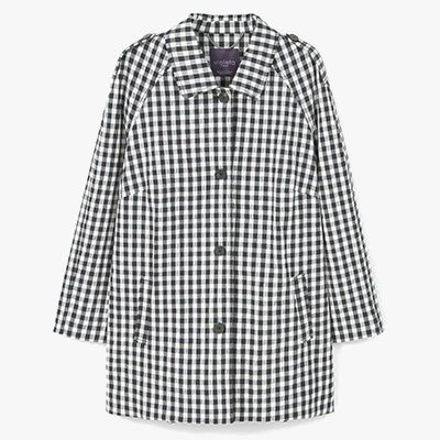 Plus sized gingham trench coat.