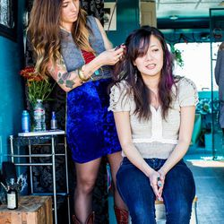 At the Pretty Parlor truck; Why we love their looks: electric blue velvet FTW, the gal seated made her top!