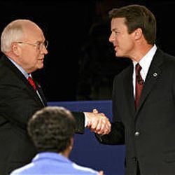 Vice President Dick Cheney and Sen. John Edwards, the Democratic vice presidential nominee, shake hands before their debate.
