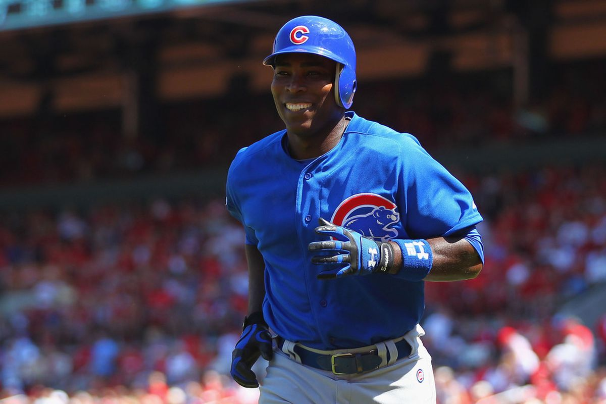 Alfonso Soriano of the Chicago Cubs returns to the dugout after hitting a game-tying home run against the St. Louis Cardinals at Busch Stadium in St. Louis, Missouri.  (Photo by Dilip Vishwanat/Getty Images)