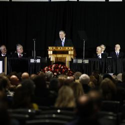 Elder Jeffrey R. Holland of the Quorum of the Twelve Apostles speaks during a public memorial service for former Cougar football coach LaVell Edwards at the Provo Convention Center on Friday, Jan. 6, 2017.