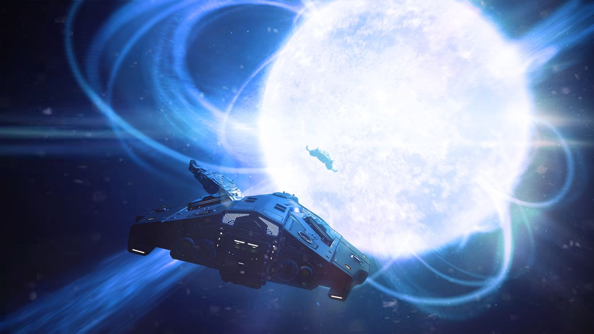 Ships around a supermassive white star in Elite: Dangerous.