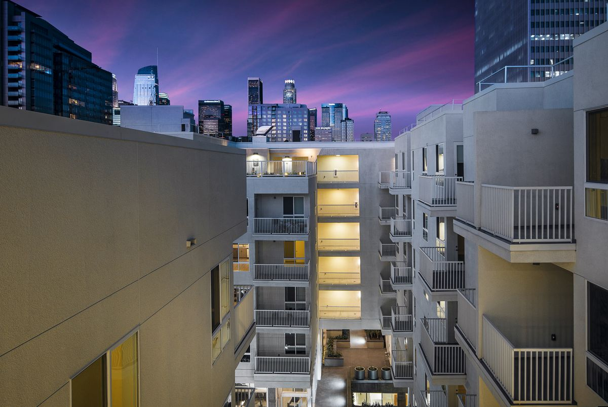 View across balconies