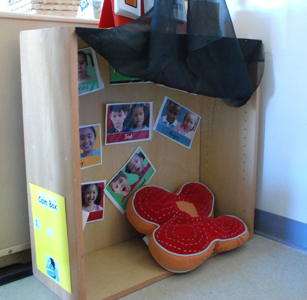 """The """"calm box"""" is a place in the classroom where kids can go when they feel upset."""