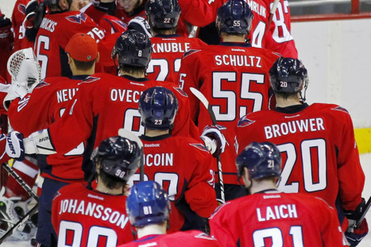 March 25, 2012; Washington, DC, USA; Washington Capitals goalie Braden Holtby (70) celebrates with teammates after the Capitals' game against the Minnesota Wild at Verizon Center. The Capitals won 3-0. Mandatory Credit: Geoff Burke-US PRESSWIRE