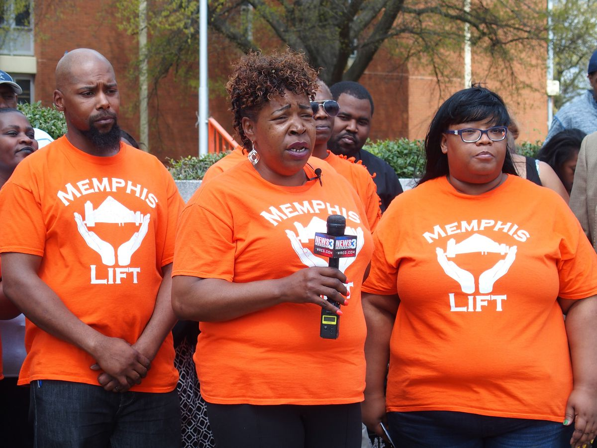 Sarah Carpenter, the executive director of Memphis Lift, speaks to media outside now-closed Northside High School about the advocacy group's stances on education legislation.