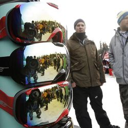 Dye Precision's Jay Dutton and Darren Nielsen show retailers and enthusiasts their goggles at the Outdoor Retailers  All Mountain Demo at Solitude Mountain Resort  Wednesday, Jan. 18, 2012. 40 outdoor recreation brands and hundreds of specialty retailers were at Solitude for a day of winter sport product previews, hands-on gear testing and outdoor events.
