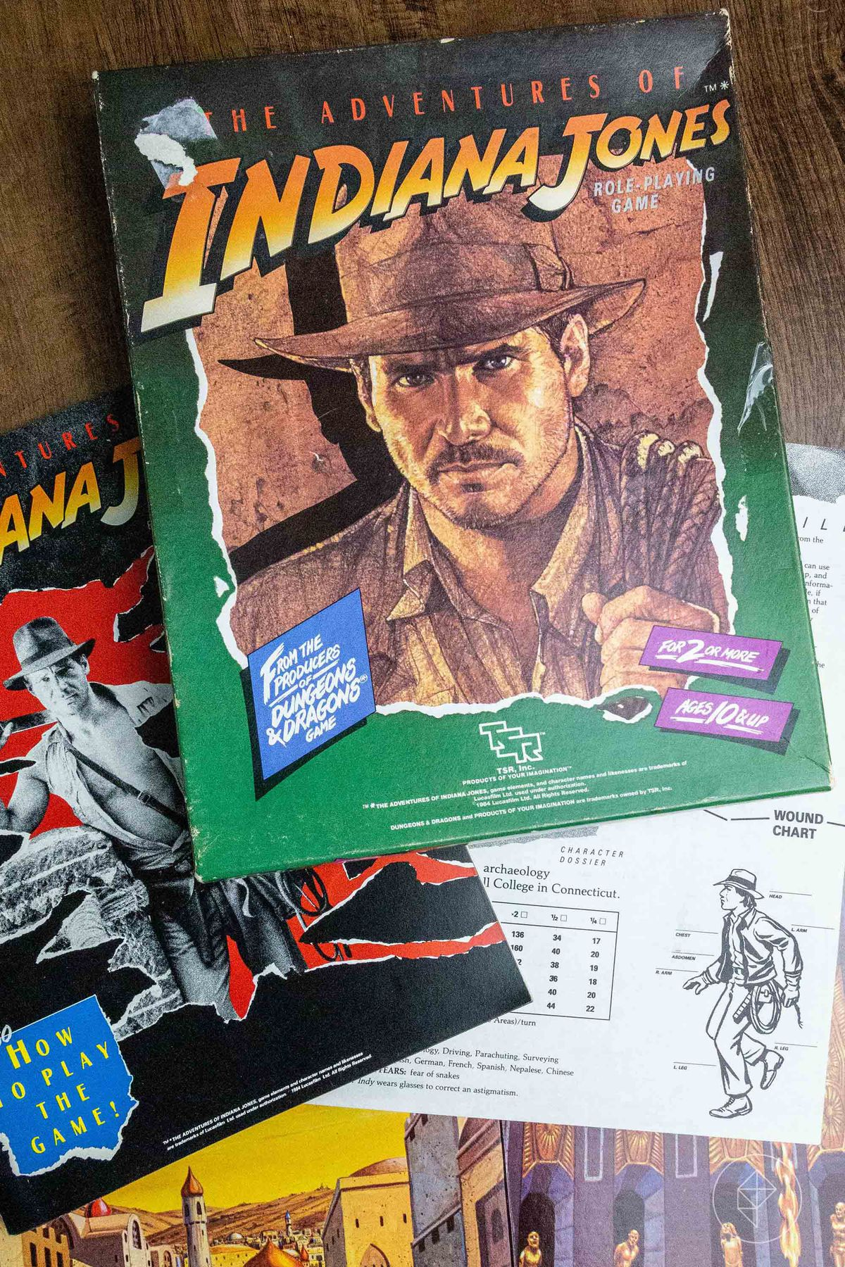 The Adventures of Indiana Jones Role-playing Game, including the character card for Indy himself.