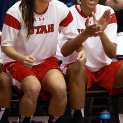 Utah players cheer from the bench during a women's basketball game against BYU at the Marriott Center in Provo on Saturday, Dec. 14, 2013. Utah won in double overtime 82-74.