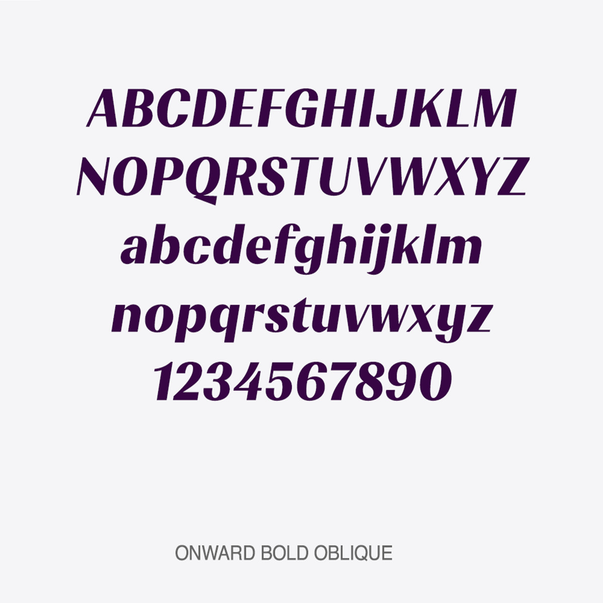 Onward Oblique display font shown as alphabet and numerical