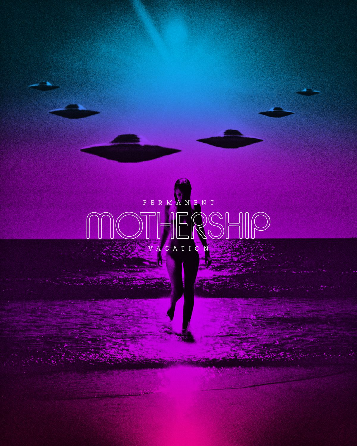 Graphic showing a women coming out of the ocean with spaceships in the background from Mothership