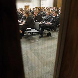 Missionaries participate in a large group meeting on their first day at the Provo Missionary Training Center of The Church of Jesus Christ of Latter-day Saints in Provo, Utah, Wednesday, Feb. 2, 2011.