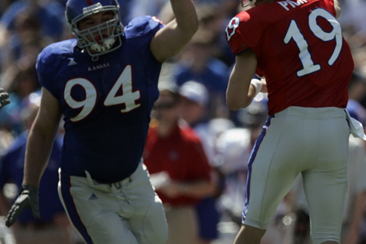 Senior Caleb Blakesly will look to Lead a Potentially Deep Defensive Tackle Group for the Kansas Jayhawks in 2009.