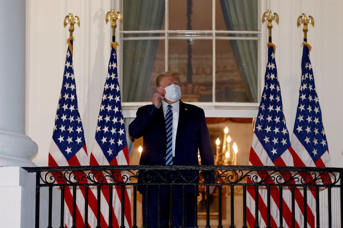 President Donald Trump at the White House on October 5, shortly after he was treated at Walter Reed Medical Center for Covid-19.