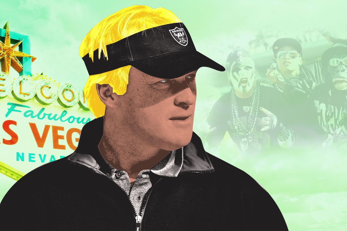 An illustration of Jon Gruden in a Raiders visor with his hair colored highlighter yellow