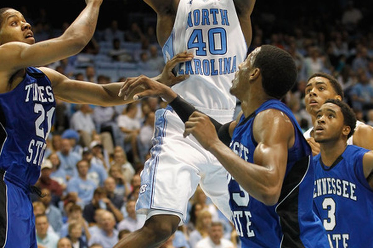 Harrison Barnes shoots the ball over the defense of the Tennessee State Tigers during their game at Dean Smith Center on November 22, 2011.