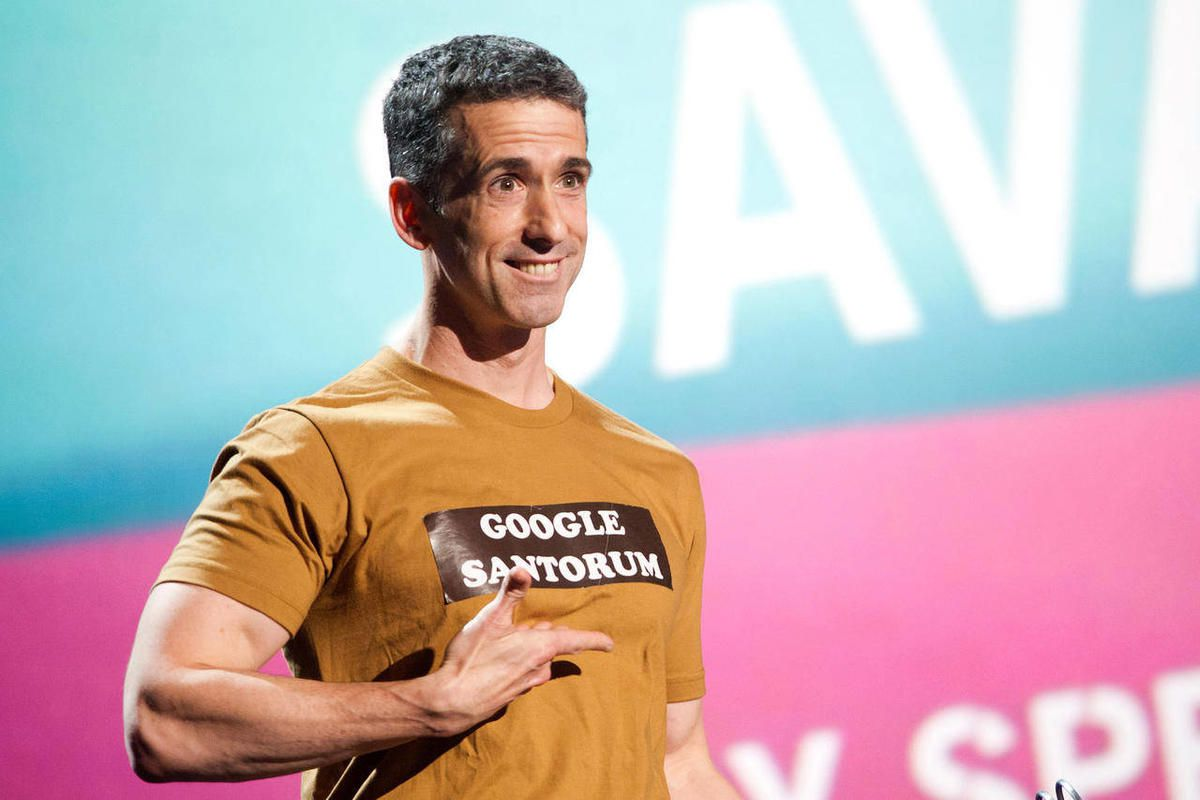 """FILE - In this June 13, 2011 file photo, Dan Savage appears onstage at the 15th Annual Webby Awards in New York. The 47-year-old columnist, podcaster and pundit answers questions from college students around the country on """"Savage U,"""" which premieres Tues"""
