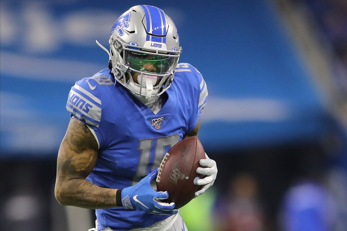 Kenny Golladay of the Detroit Lions makes a catch during the second quarter of the game against the Green Bay Packers at Ford Field on December 29, 2019 in Detroit, Michigan.