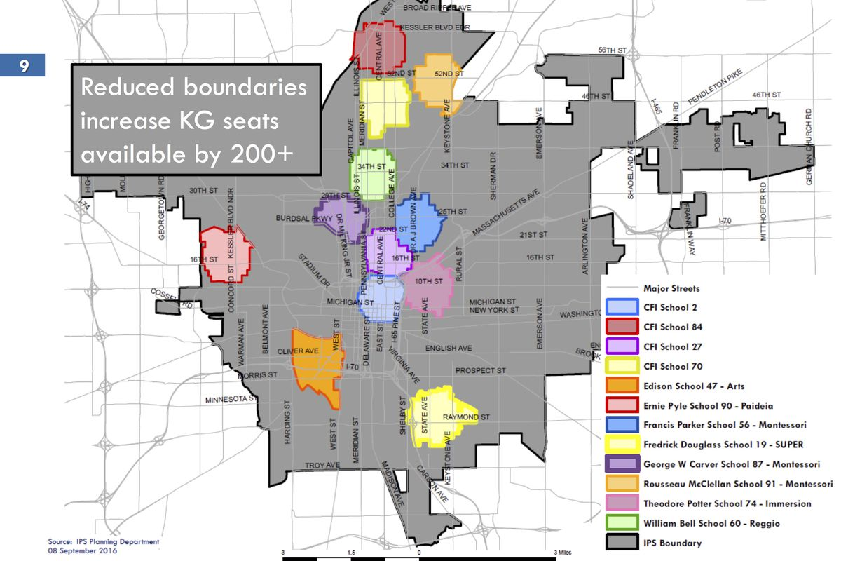The magnet priority admission boundaries adopted by Indianapolis Public Schools in 2016.