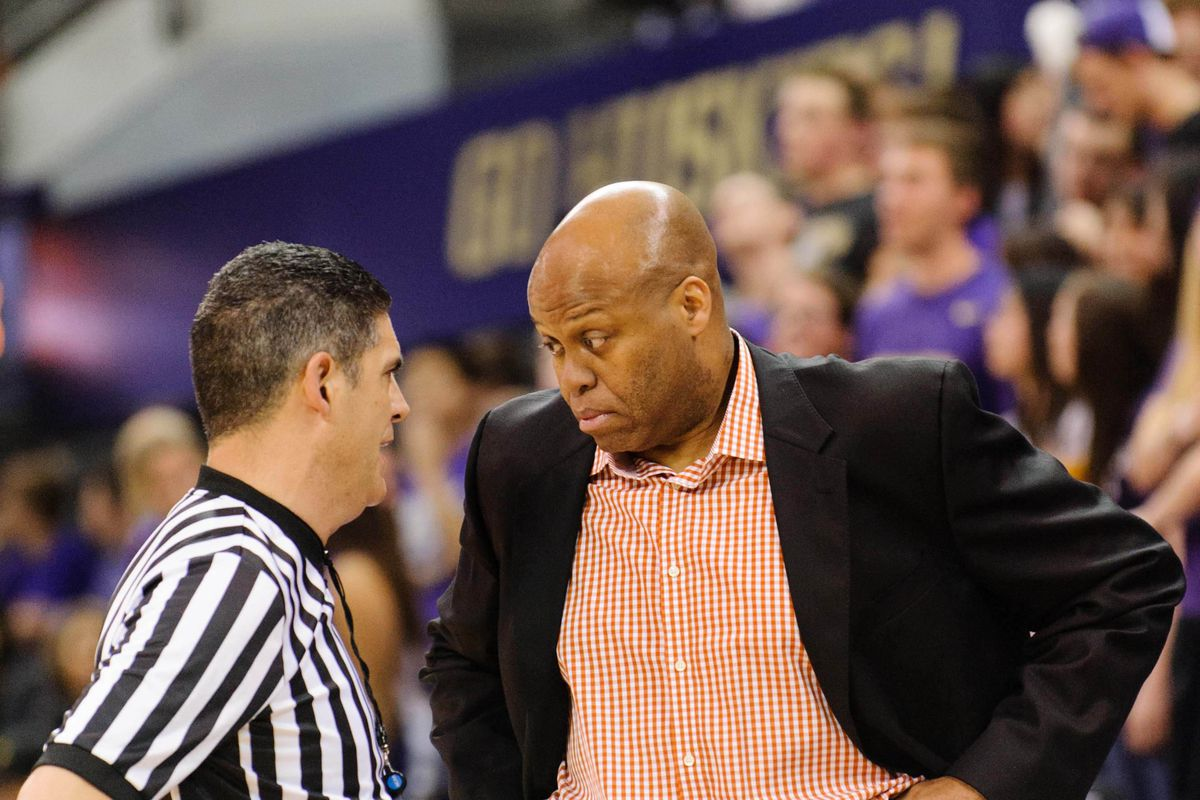 Oregon State head coach Craig Robinson engaged in a staring contest with a Pac-12 referee.