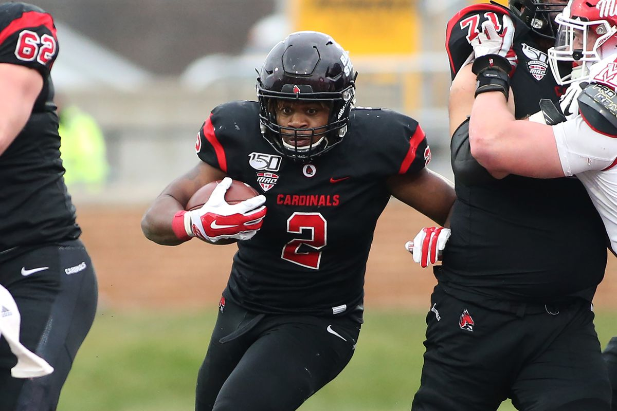 Caleb Huntley of the Ball State Cardinals runs the ball in the game against the Miami of Ohio Redhawks at Scheumann Stadium on November 29, 2019 in Muncie, Indiana.