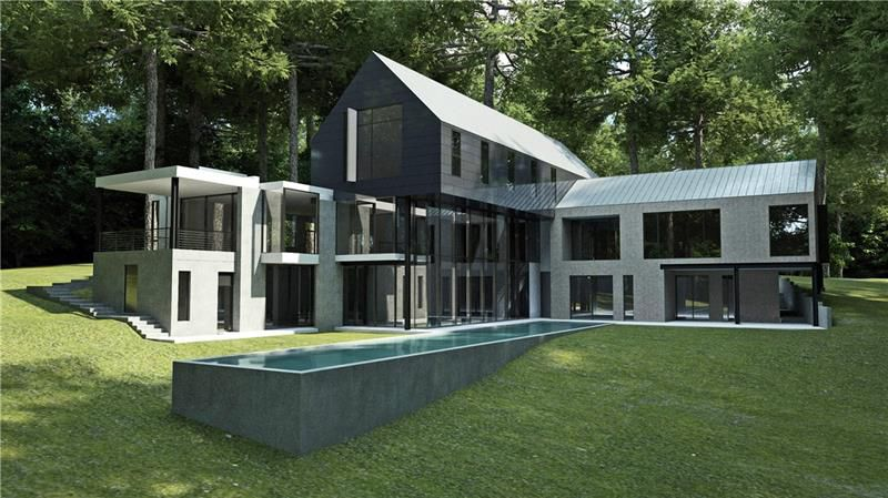 A rendering of a huge modern house with a pool on a hill.