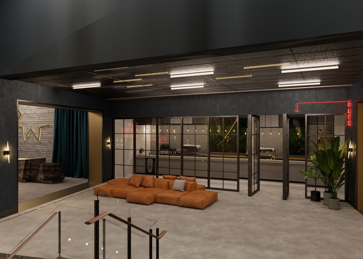 A rendering of a lobby with large windows.