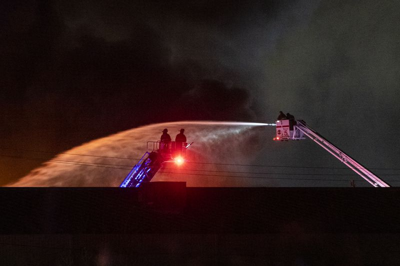 Chicago Firefighters battle a 3-11 alarm blaze at a warehouse in the 11900 block of South Avenue O, Wednesday, Nov. 11, 2020. | Tyler LaRiviere/Sun-Times