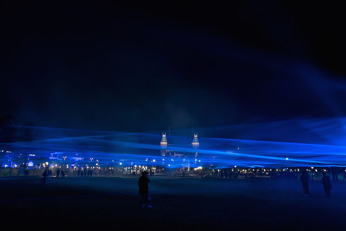 """Daan Roosegaarde's """"Waterlicht"""" uses light to simulate a submerged Amsterdam, one without its tide-stymieing waterways. All photos courtesy of Studio Roosegaarde/Pim Hendriksen"""