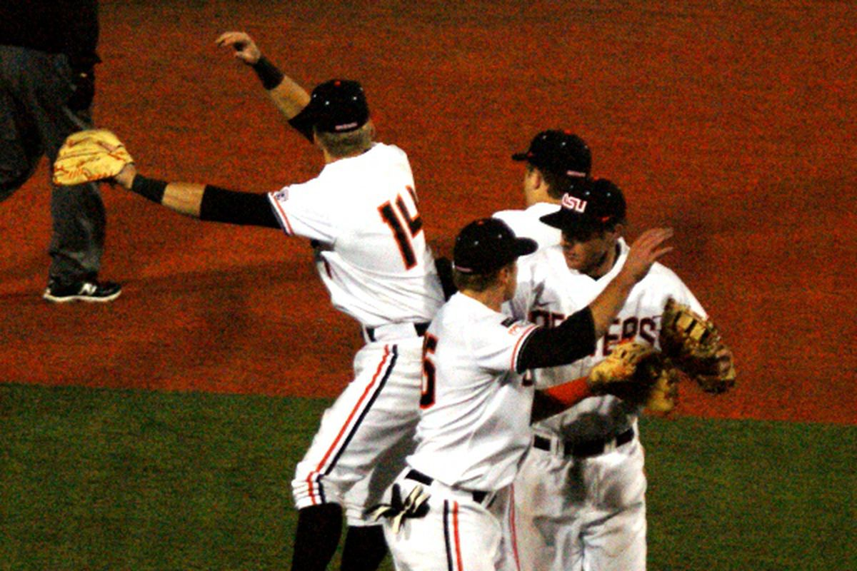 Oregon St. celebrated another series win this weekend, and moving up to #2 in the country as a result.