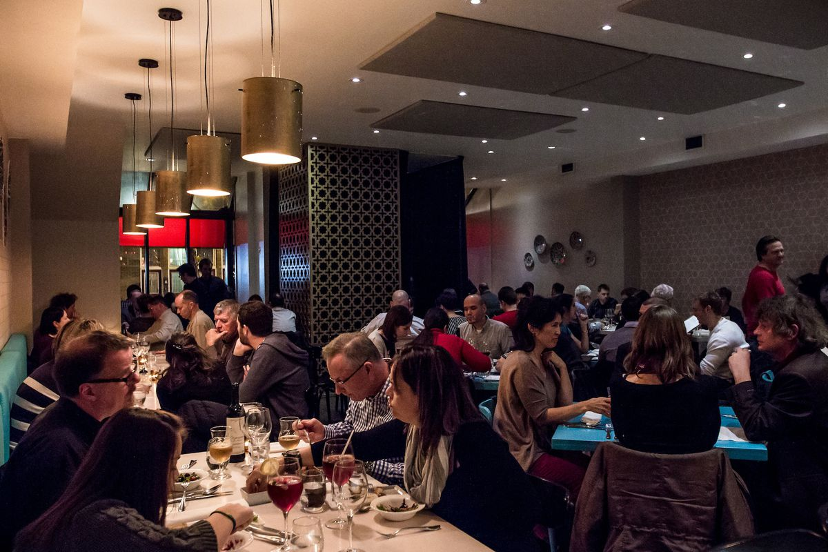 Customers inside Montreal restaurant Su