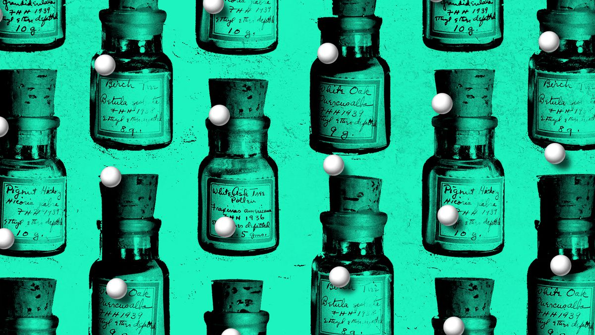 Illustration of a pattern of homeopathic pill bottles with small pills above them.