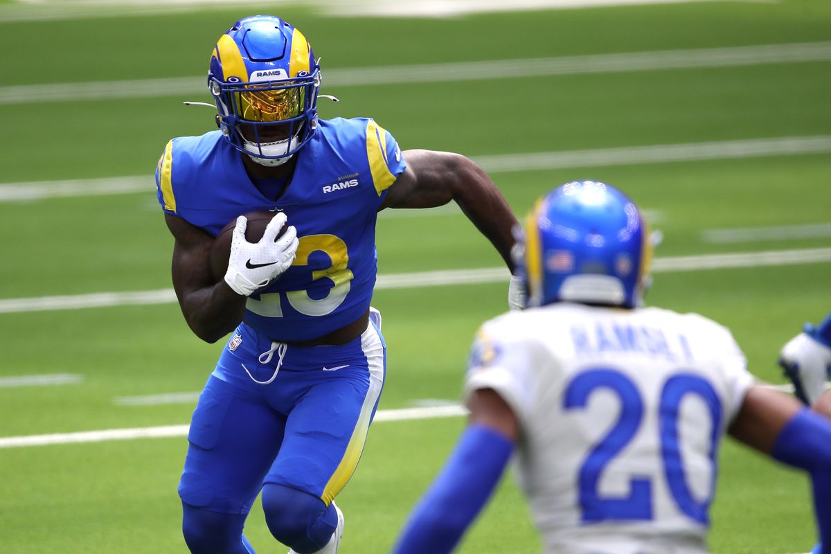 Cam Akers #23 of the Los Angeles Rams runs the ball during a team scrimmage at SoFi Stadium on August 29, 2020 in Inglewood, California.