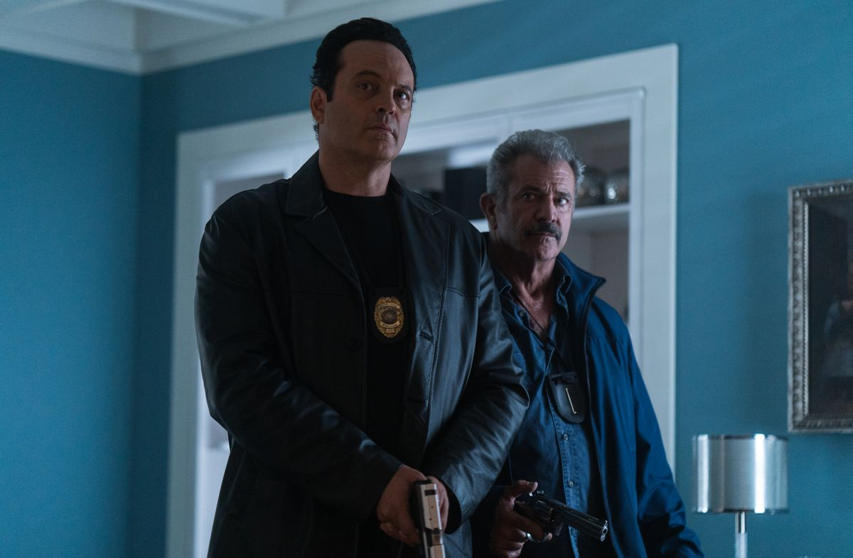 Vince Vaughn and Mel Gibson in Dragged Across Concrete.