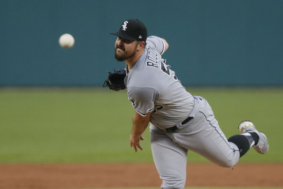 Carlos Rodon in the second inning Monday at Comerica Park.